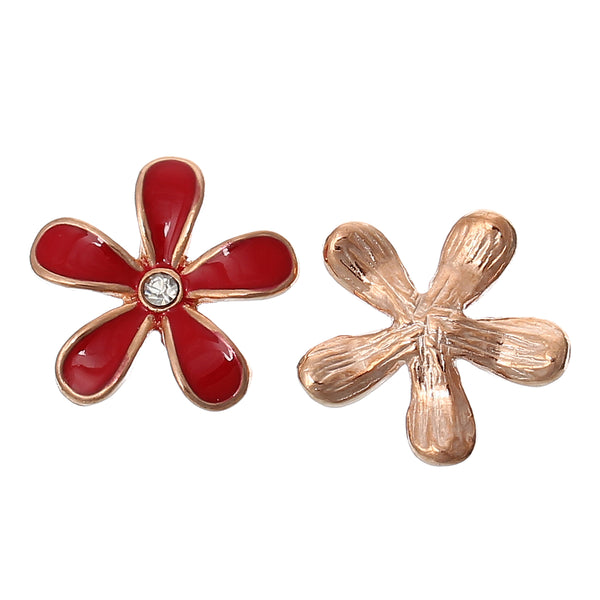Sexy Sparkles 5 Pcs Enamel Flower Rose Charm Embellishment Findings with Clear Rhinestone 18mm (red)