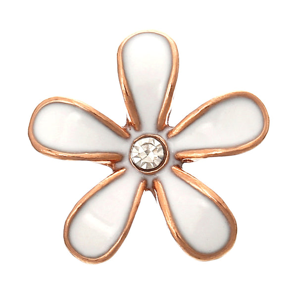 "Embellishment Findings Flower Rose Gold Enamel Green Clear Rhinestone 18mm x 17mm( 6/8"" x 5/8"")"