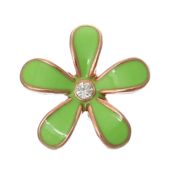 Sexy Sparkles 5 Pcs Enamel Flower Rose Charm Embellishment Findings with Clear Rhinestone 18mm (Green)
