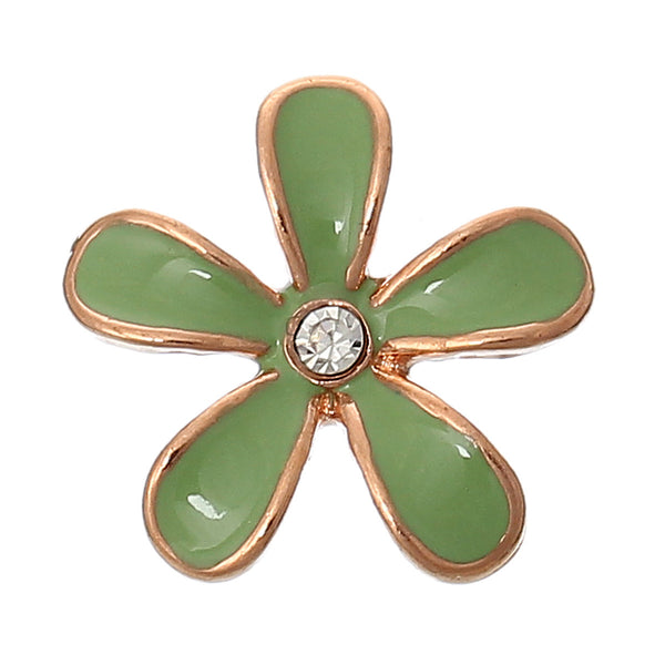 Sexy Sparkles 2 Pcs Enamel Flower Rose Charm Embellishment Findings with Clear Rhinestone 18mm (Light Green)