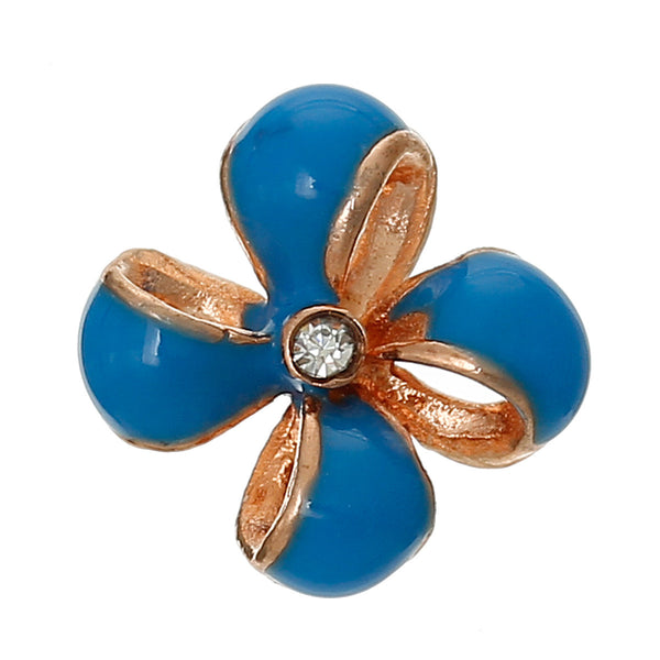 4 Pcs Enamel Blue Flower Embellishment Findings with Clear Rhinestone 12mm - Sexy Sparkles Fashion Jewelry - 1