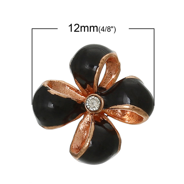 4 Pcs Enamel Black Flower Embellishment Findings with Clear Rhinestone 12mm - Sexy Sparkles Fashion Jewelry - 1