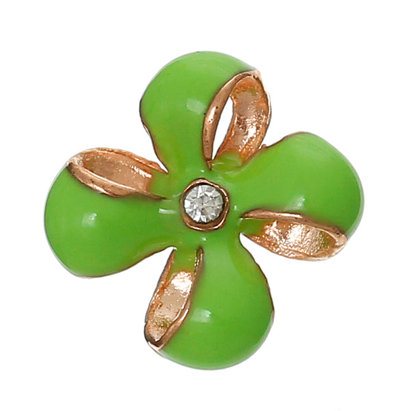 4 Pcs Enamel Green Flower Embellishment Findings with Clear Rhinestone 12mm - Sexy Sparkles Fashion Jewelry - 1
