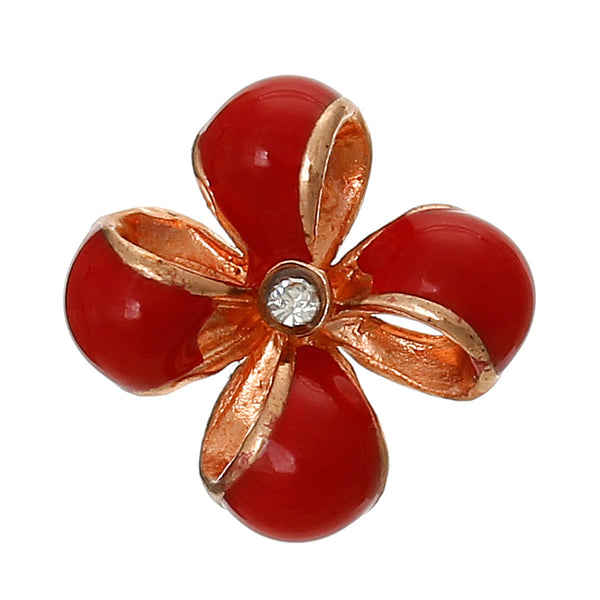 4 Pcs Enamel Red Flower Embellishment Findings with Clear Rhinestone 12mm - Sexy Sparkles Fashion Jewelry - 1