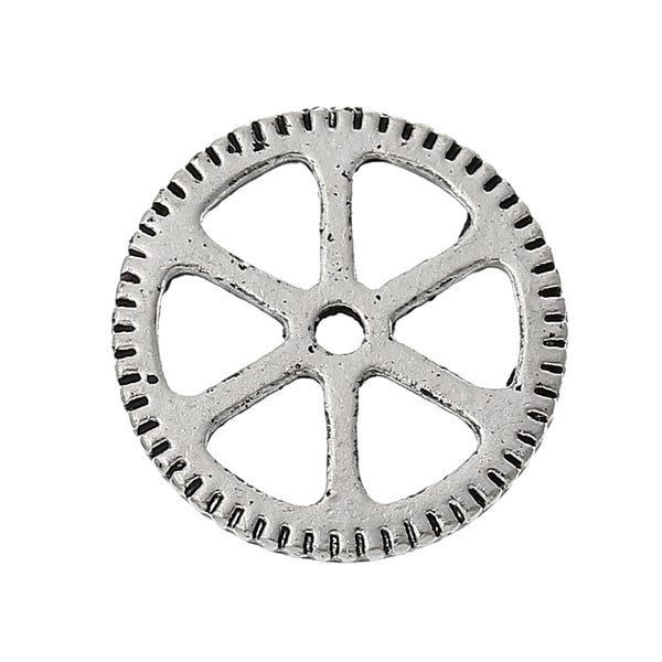 5 Pcs Embellishment Findings Cogwheel Gear Antique Silver Hollow 15mm - Sexy Sparkles Fashion Jewelry - 1