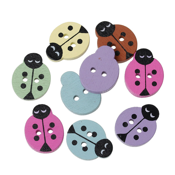12 Pcs Ladybug Wood Round Scrapbooking Sewing Buttons Assorted Colors 17mm - Sexy Sparkles Fashion Jewelry - 1