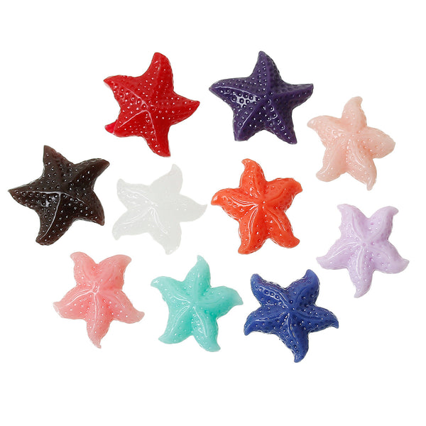 10 Pcs Starfish Synthetic Coral Spacer Beads Assorted Colors 16mm - Sexy Sparkles Fashion Jewelry - 1