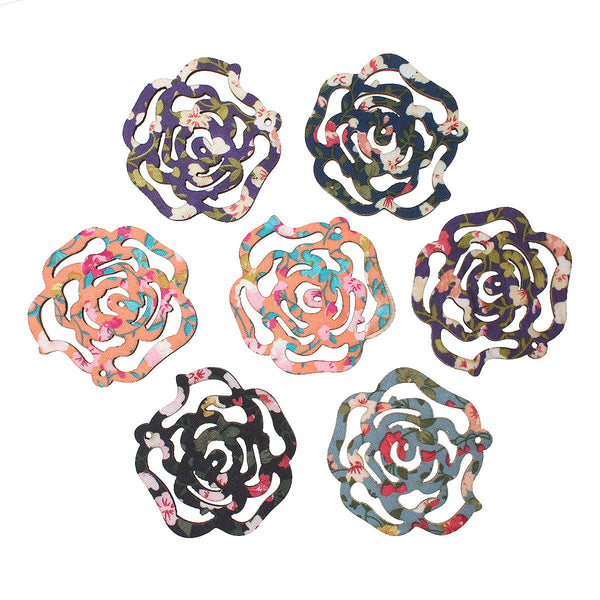 "5 Pcs Rose Wood Charm Pendants Assorted Colors 51mm(2"") - Sexy Sparkles Fashion Jewelry - 1"