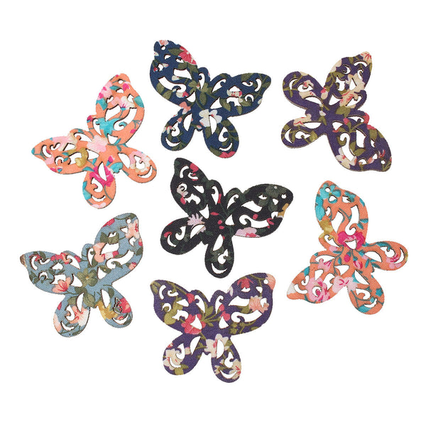 "5 Pcs Butterfly Wood Charm Pendants Assorted Colors 50mm(2"") - Sexy Sparkles Fashion Jewelry - 1"