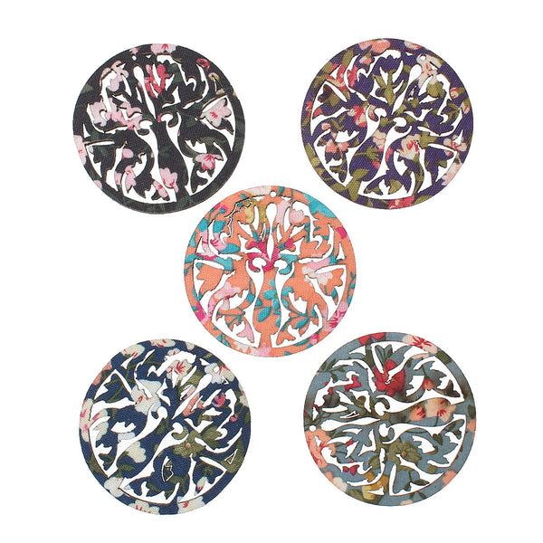 "5 Pcs Round Wood Charm Pendants Flower Pattern Assorted Colors 46mm(1-6/8"") - Sexy Sparkles Fashion Jewelry - 1"