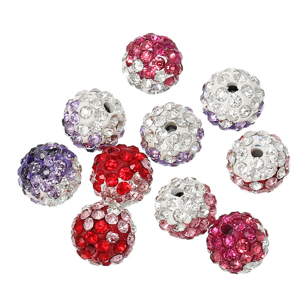 5 Pcs Multicolor Polymer Clay Ball Beads Pave w/ Rhinestones 10mm - Sexy Sparkles Fashion Jewelry - 1