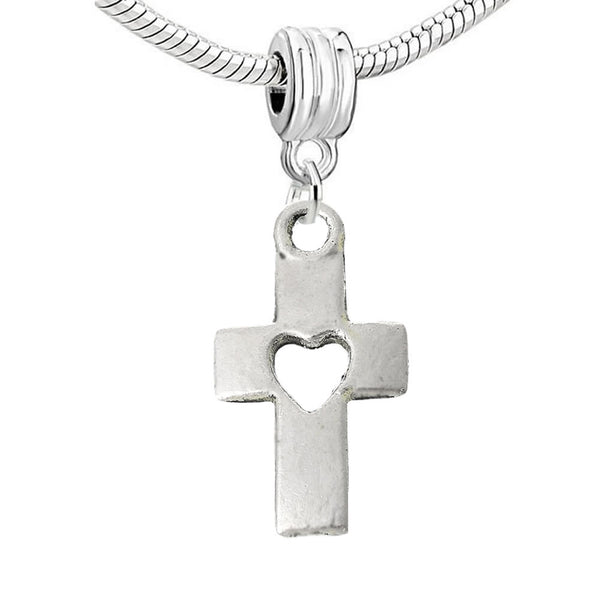"Sexy Sparkles Dangling ""Cross w/ a Heart"" Charm Bead for Snake Chain Charm Bracelet - Sexy Sparkles Fashion Jewelry"