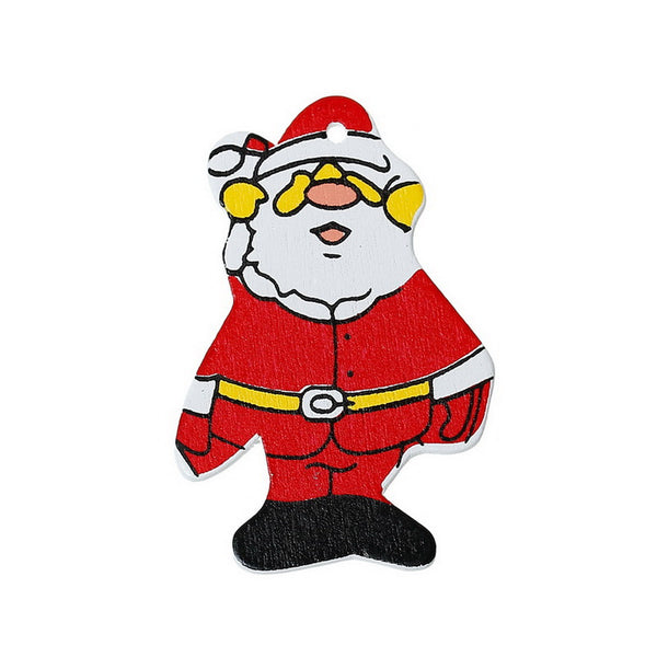 20 Pcs Christmas Red Santa Claus Wood Charm Pendants 41mm - Sexy Sparkles Fashion Jewelry - 1