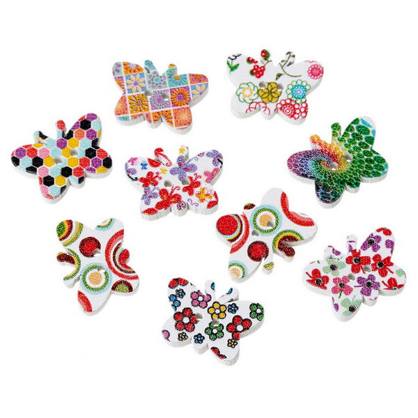 10 Pcs Butterfly Wood Buttons Assorted Colors and Patterns 19mm - Sexy Sparkles Fashion Jewelry - 1
