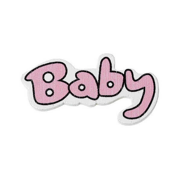 "10 Pcs ""Baby"" Pink Wood Embellishments Scrapbooking Findings Baby Shower Deco... - Sexy Sparkles Fashion Jewelry - 1"