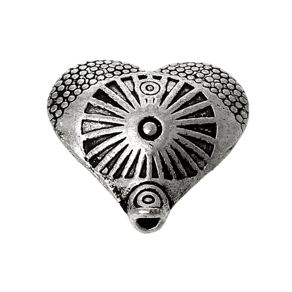 10 Pcs Heart Charm Beads Antique Silver Circle Ring Carved Pattern 12mm - Sexy Sparkles Fashion Jewelry - 1