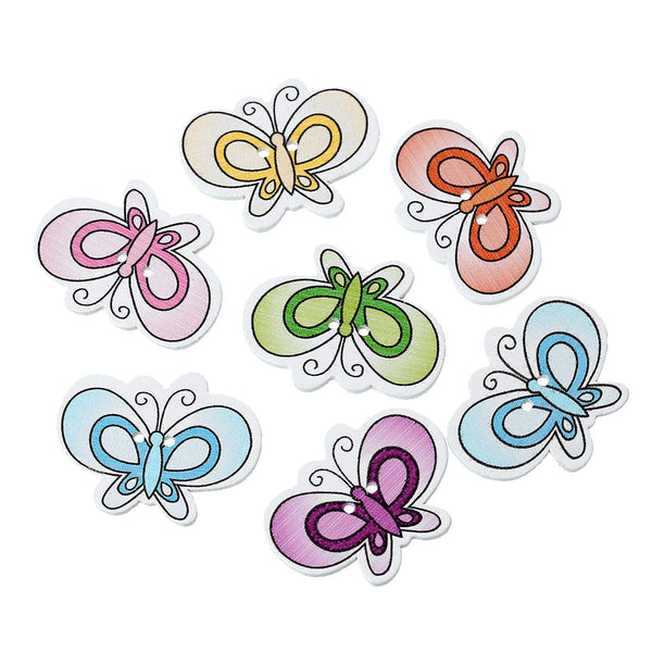 10 Pcs Butterfly Wood Buttons Assorted Colors 3.3cm - Sexy Sparkles Fashion Jewelry - 1