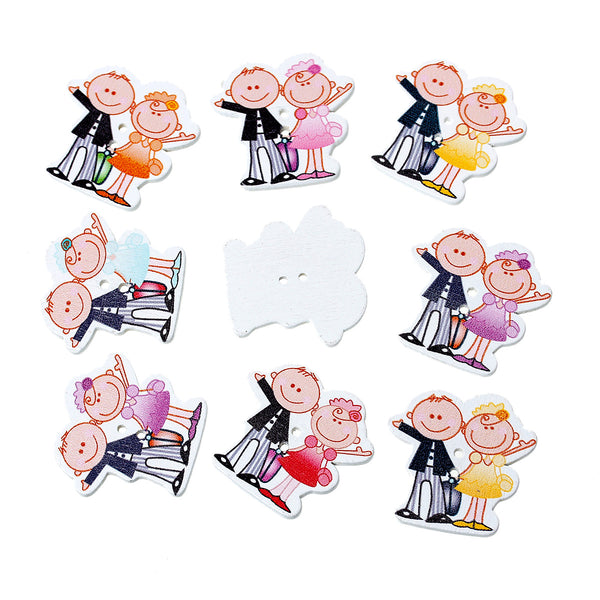 10 Pcs Man and Lady Wood Buttons Assorted Colors 3.1cm - Sexy Sparkles Fashion Jewelry - 1