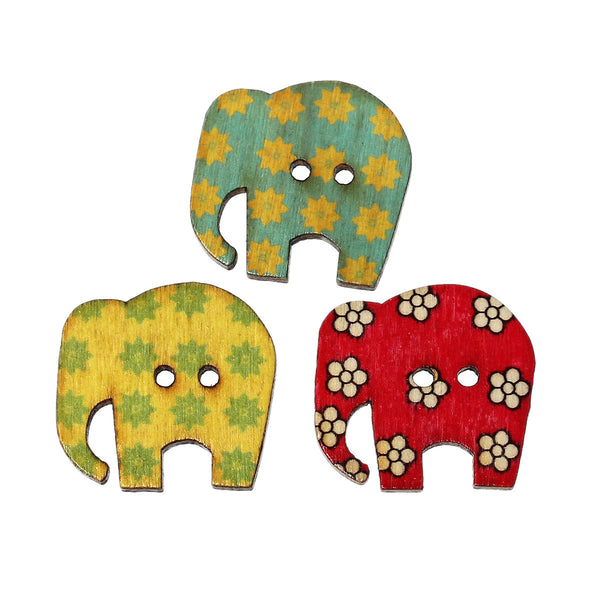 10 Pcs Elephant Wood Buttons Assorted Colors and Patterns 3cm - Sexy Sparkles Fashion Jewelry - 1