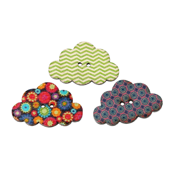 10 Pcs Cloud Wood Buttons Assorted Colors and Patterns 3cm - Sexy Sparkles Fashion Jewelry - 1