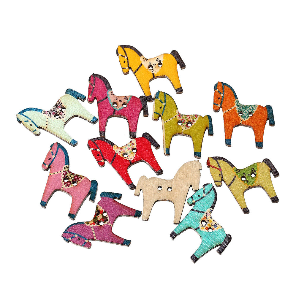 Wooden horse patterns - Sexy Sparkles 10 Pcs Horse Wood Buttons Assorted Colors And Patterns 29mm