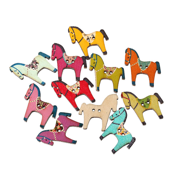10 Pcs Horse Wood Buttons Assorted Colors and Patterns 29mm - Sexy Sparkles Fashion Jewelry - 1