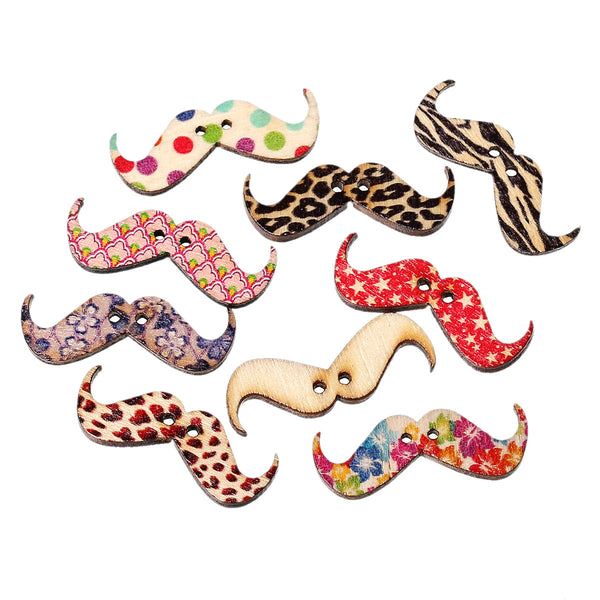 10 Pcs Mustache Wood Buttons Assorted Colors and Patterns 3.1cm - Sexy Sparkles Fashion Jewelry - 1