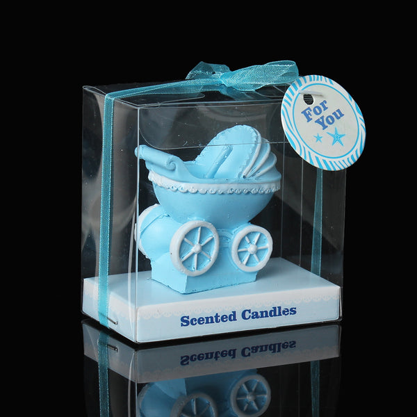1 Pc Baby Blue Carriage Stroller Baby Shower Votive Candle Favors 7cm - Sexy Sparkles Fashion Jewelry - 1