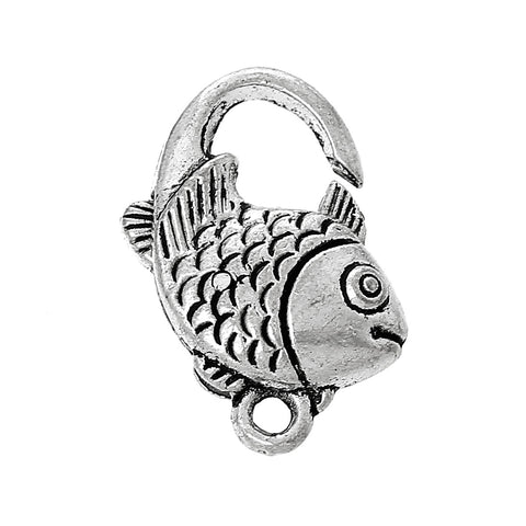 10 Pcs Lobster Clasp Fish Shape Antique Silver 20mm X 15mm - Sexy Sparkles Fashion Jewelry - 1