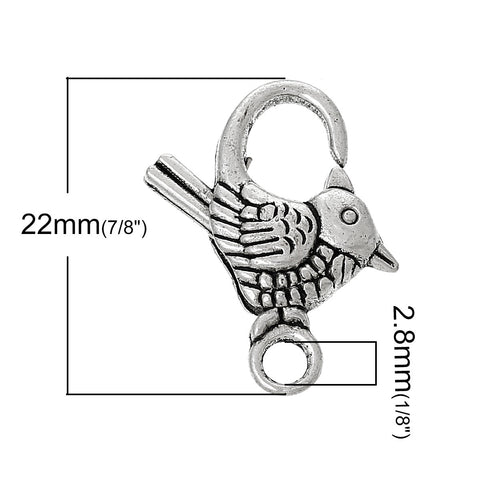 10 Pcs Lobster Clasp Bird Shape Antique Silver 22mm X 17mm - Sexy Sparkles Fashion Jewelry - 2
