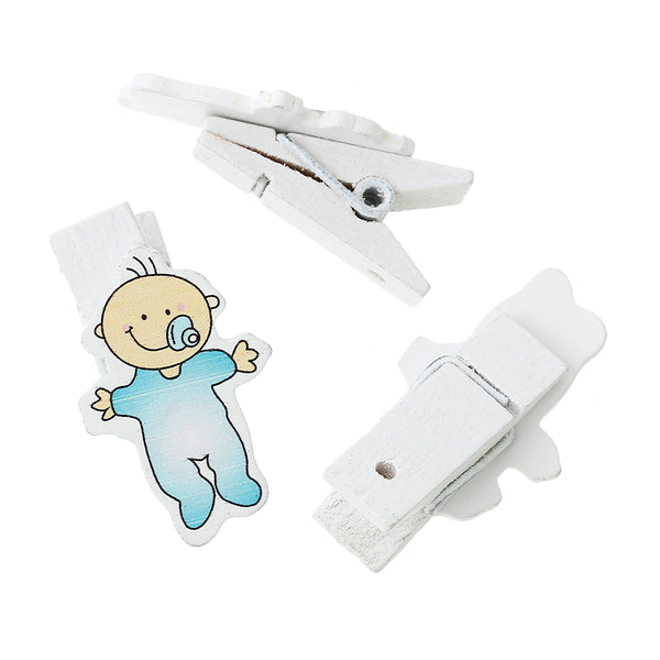 Sexy Sparkles 10 Pcs Wood Clothespin Clip with Wood Embellishments Baby Shower Decorations (Baby Blue)