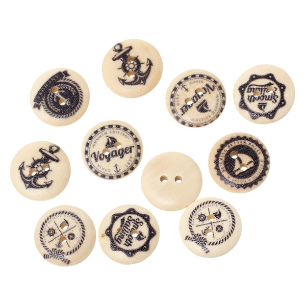 100 Pcs Round Wood Buttons Natural Color and Mixed Patterns 18mm - Sexy Sparkles Fashion Jewelry - 1
