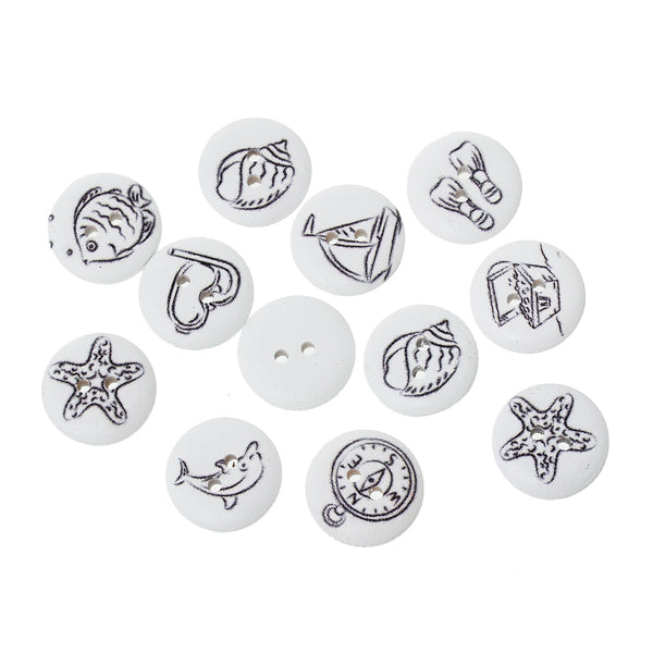 100 Pcs Round Wood Buttons White Color and Mixed Patterns 18mm - Sexy Sparkles Fashion Jewelry - 1