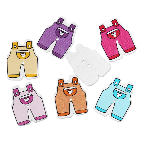 10 Pcs Baby Trousers Wood Buttons Scrapbooking Baby Shower Decorations Assort... - Sexy Sparkles Fashion Jewelry - 1
