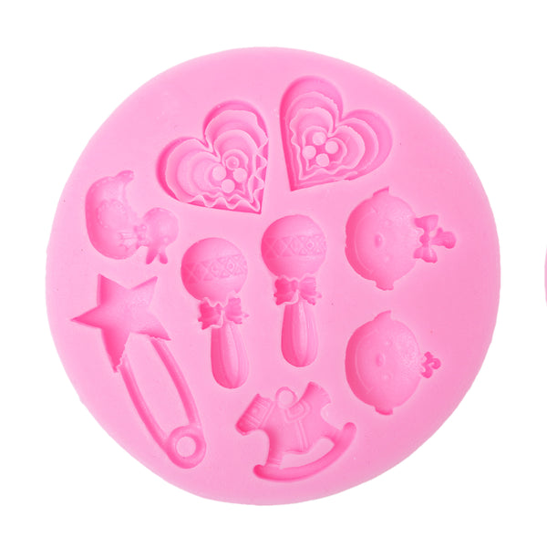 Sexy Sparkles Food Grade Silicone Fondant Cake Sugarcraft Clay Baby Shower Mold (Baby Girl Baby Boy Pink)