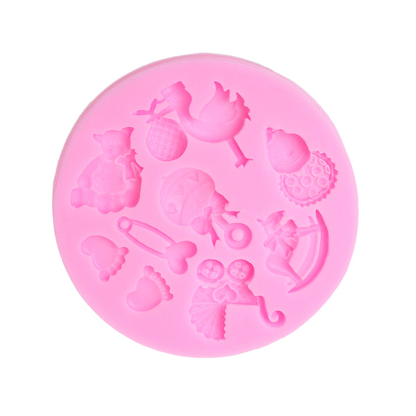 Sexy Sparkles Food Grade Silicone Fondant Cake Sugarcraft Clay Baby Shower Mold (Baby Feet Pink)