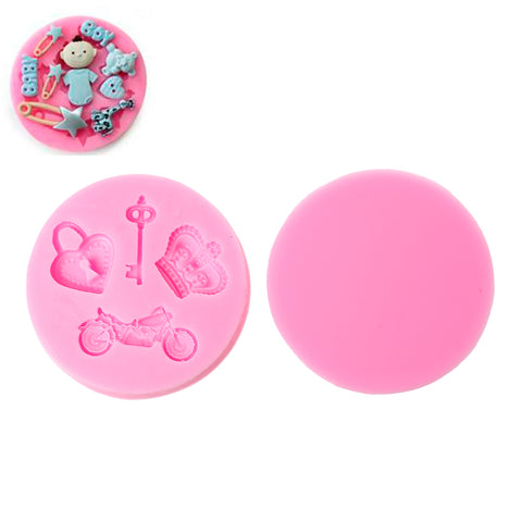 Sexy Sparkles Food Grade Silicone Fondant Cake Sugarcraft Clay Baby Shower Mold (Princess Pink)