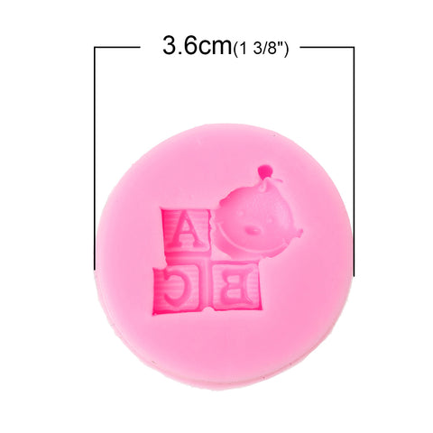 Sexy Sparkles Food Grade Silicone Fondant Cake Sugarcraft Clay Baby Shower Mold (ABC Baby Pink)