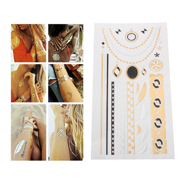 Sexy Sparkles Metallic Waterproof Temporary Tattoo Sticker Body Art Metallic Colors Jewelry... - Sexy Sparkles Fashion Jewelry - 1
