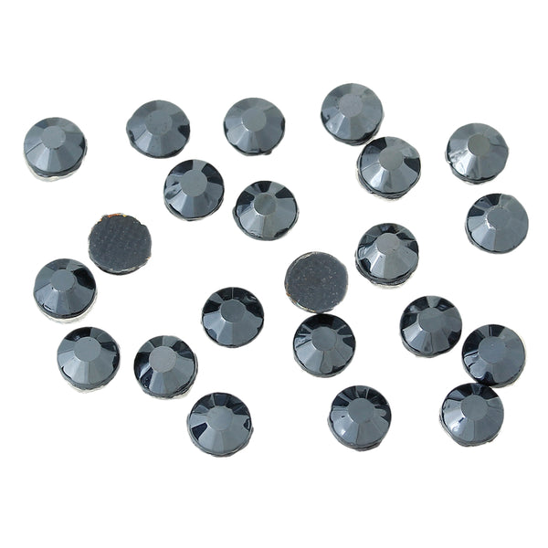 Sexy Sparkles DIY Iron on Fix Hot Flatback Rhinestones ss20 5mm (Black Silver)