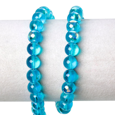 Sexy Sparkles 2 Strand Round Glass Loose Beads AB Colors 8mm approx. 104pcs/strand (Blue AB)