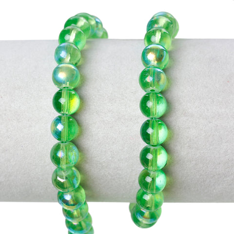 Sexy Sparkles 2 Strand Round Glass Loose Beads AB Colors 8mm approx. 104pcs/strand (Green AB)