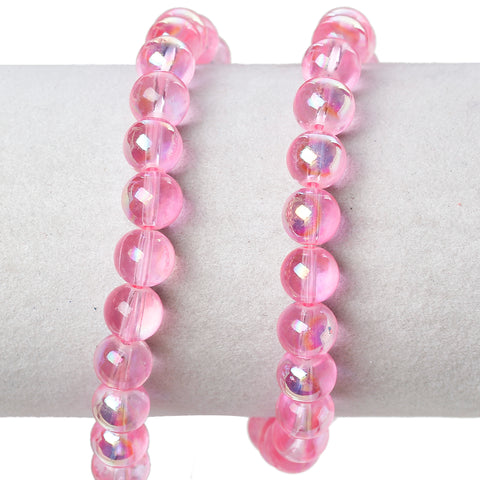 Sexy Sparkles 2 Strand Round Glass Loose Beads AB Colors 8mm approx. 104pcs/strand (Pink AB)