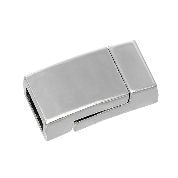 "1 Pc Rectangle Magnetic Clasp Silver Tone 5/8"" x 3/8"" - Sexy Sparkles Fashion Jewelry - 1"