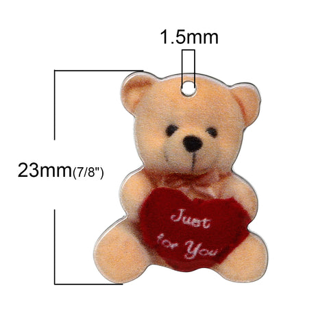 "Sexy Sparkles 10 Pcs Bear Resin Charm Pendant 7/8"" (Orange ""Just for You"")"