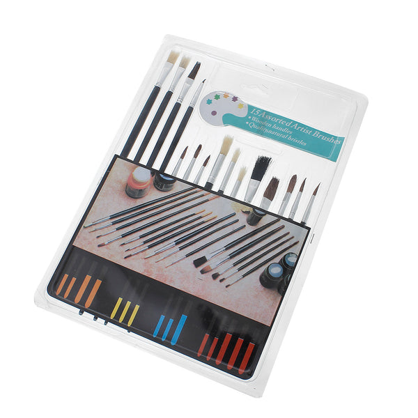 Painting Drawing Black Brushes with Wood Handle 15 Pcs Set - Sexy Sparkles Fashion Jewelry - 1