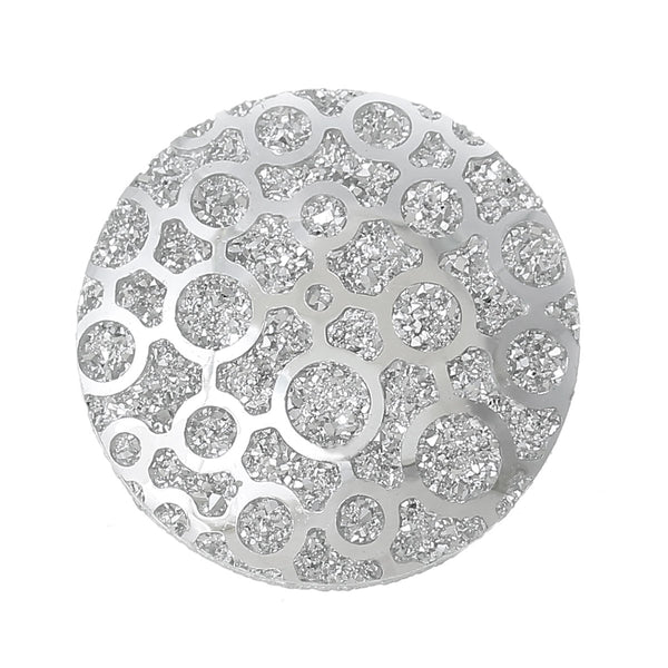 "Sexy Sparkles Glitter Resin Embellishments Flatback Beads with Patterns (5 Pcs. Round Silver 1-1/8"")"
