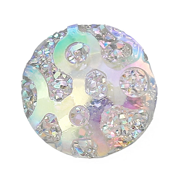 "Sexy Sparkles Glitter Resin Embellishments Flatback Beads with Patterns (20 Pcs. Round White Ab 3/8"")"