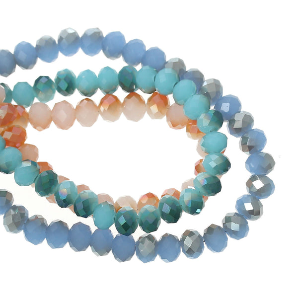 Strand Round Crystal Glass AB Faceted Assorted Colors Loose Beads 6mm - Sexy Sparkles Fashion Jewelry - 1