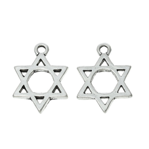 Clip on Star of David Charm Pendant for European Jewelry w/ Lobster Clasp